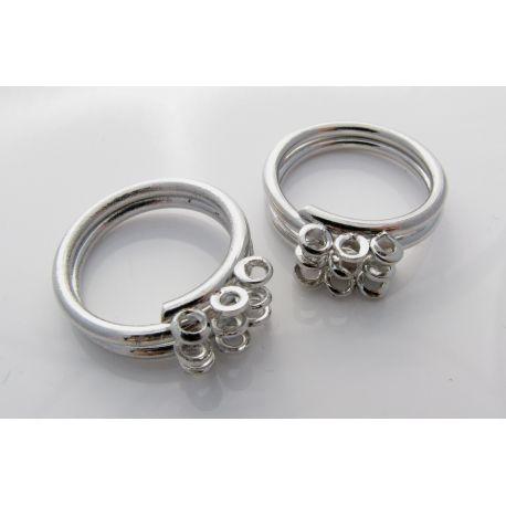 Reguliuojamas žiedo pagrindas, sidabro spalvos, 9 kilpučių 16mm