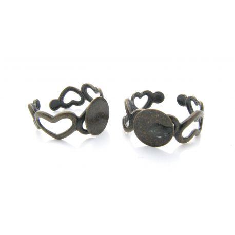 Žiedo pagrindas kabošnui, sendintos bronzinės spalvos, 15 mm
