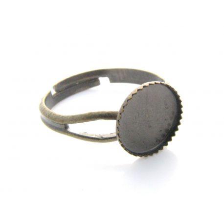 Reguliuojamas žiedo pagrindas kabošonui, sendintos brozinės spalvos, 17,5 mm