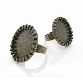 Reguliuojamas žiedo pagrindas kabošonui, sendintos brozinės spalvos, pagrindo dydis 20mm, 17 mm