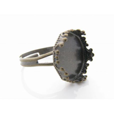 Reguliuojamas žiedo pagrindas kabošonui, sendintos brozinės spalvos, pagrindo dydis 15 mm, 17 mm
