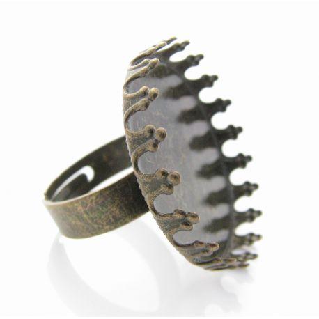 Reguliuojamas žiedo pagrindas kabošonui, sendintos brozinės spalvos, pagrindo dydis 25 mm, 17 mm