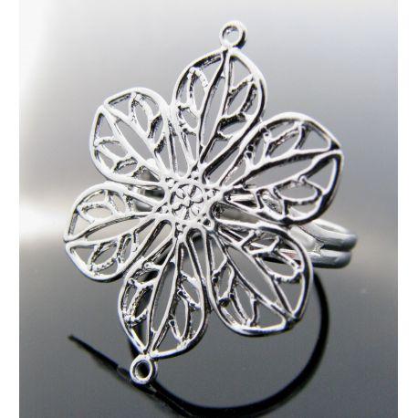 """Reguliuojamas žiedo pagrindas """"Gėlytė"""", sidabro spalvos, pagrindo dydis 20 mm, 17 mm"""