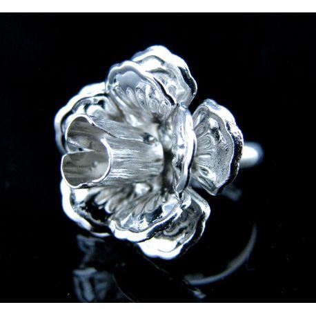 """Reguliuojamas žiedo pagrindas """"Rožytė"""", tamsios sidabro spalvos, pagrindo dydis 20 mm, 17 mm"""