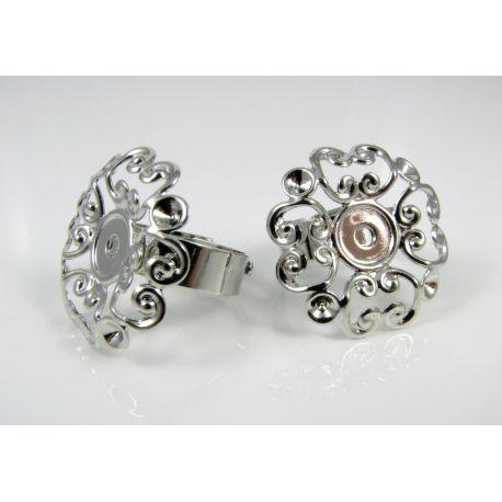 """Reguliuojamas žiedo pagrindas """"Gėlytė"""", tamsios sidabro spalvos, pagrindo dydis 23 mm, 17 mm"""