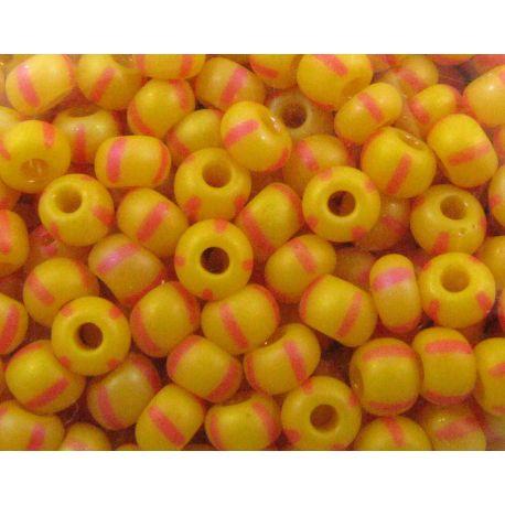 Čekiškas biseris 8/0 (2,9 mm) dydžio,39001/84970-8 oranžinės spalvos su raudonais dryželiais - matiniai, apvalios formos 50g