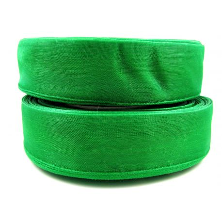 Organzos juostelė, ryškiai žalios spalvos, 25 mm pločio, 1 metras