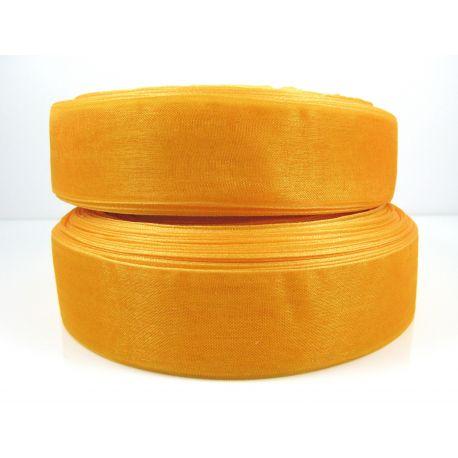 Organzos juostelė, oranžinės spalvos, 25 mm pločio, 1 metras