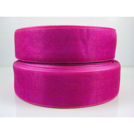 Organzos juostelė, purpurinės spalvos, 25 mm pločio, 1 metras