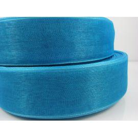 Organzos juostelė, ryškiai mėlynos - elektrinės spalvos, 25 mm pločio, 1 metras