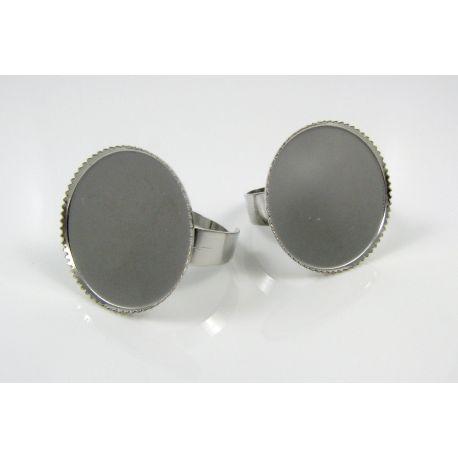 Žiedo pagrindas kabošonui 20 mm, tamsios sidabro spalvos, 1 vnt