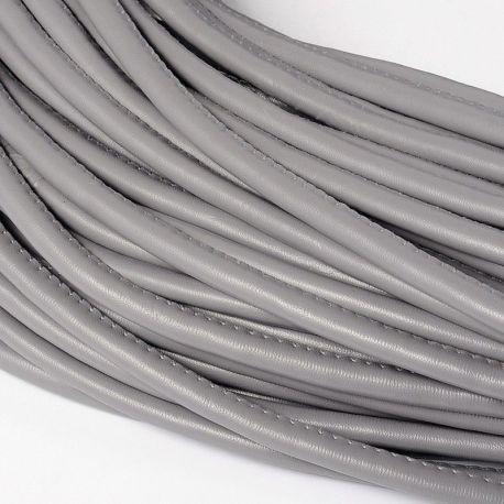 Dirbtinės odos virvutė, tamsiai pilkos spalvos, siūta, storis apie 5.50 mm, 1 metras