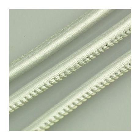 Dirbtinės odos virvutė, sidabro spalvos, siūta, storis apie 5.50 mm, 1 metras
