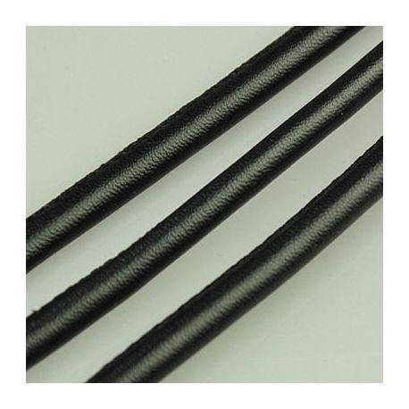 Dirbtinės odos virvutė, juodos spalvos, siūta, storis apie 5.50 mm, 1 metras