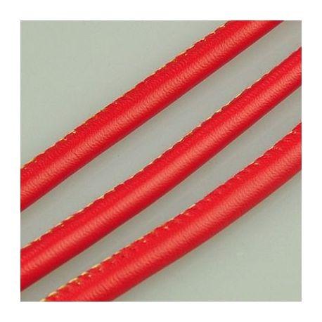 Dirbtinės odos virvutė, raudonos spalvos, siūta, storis apie 5.50 mm, 1 metras