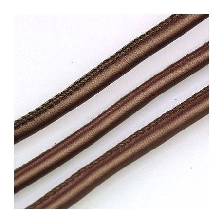 Dirbtinės odos virvutė, rudos spalvos, siūta, storis apie 5.50 mm, 1 metras