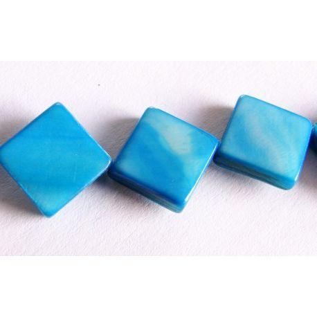 Perlų masės karoliukai žydros spalvos rombo formos 10x10mm