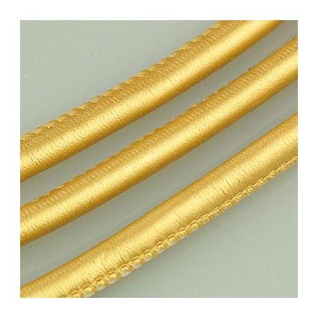 Dirbtinės odos virvutė, aukso spalvos, siūta, storis apie 5.50 mm, 1 metras