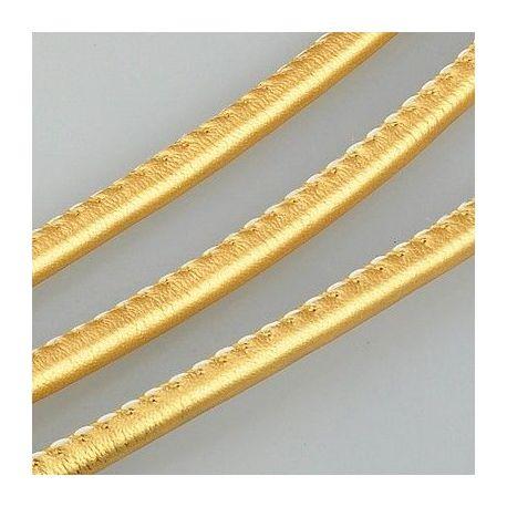 Dirbtinės odos virvelė, aukso spalvos, storis apie 4.00 mm