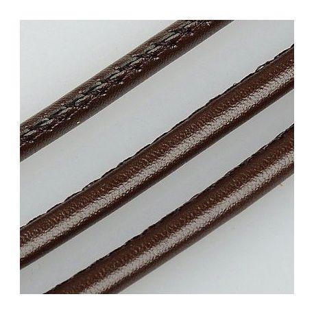 Dirbtinės odos virvutė, rudos spalvos, siūta, storis apie 4.00 mm, 1 metras