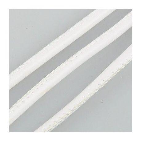 Dirbtinės odos virvutė, baltos spalvos, siūta, storis apie 4.00 mm, 1 metras
