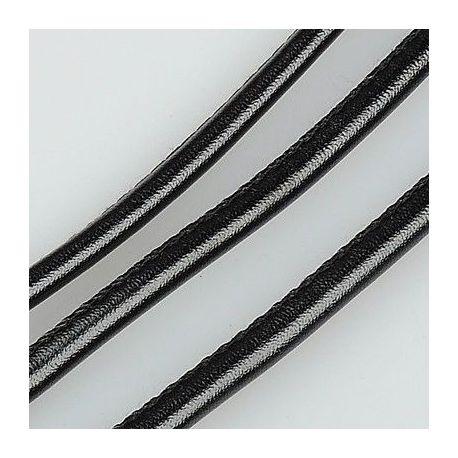 Dirbtinės odos virvutė, juodos spalvos, siūta, storis apie 4.00 mm, 1 metras