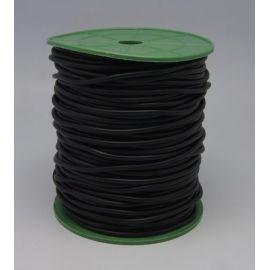 Sintetinio kaučiuko virvutė, juodos spalvos, tuščiavidūrė, storis 2.00 mm, 1 metras