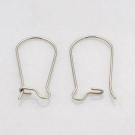 Nerūdijančio plieno kabliukai auskarams, jų gamybai, nikelio spalvos 20x10mm, 1 pora