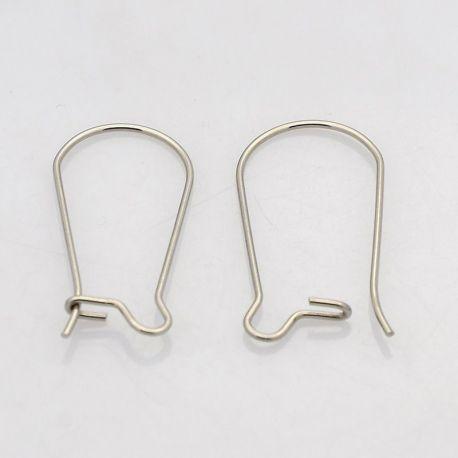 Nerūdijančio plieno kabliukai auskarams, nikelio spalvos 20x10mm
