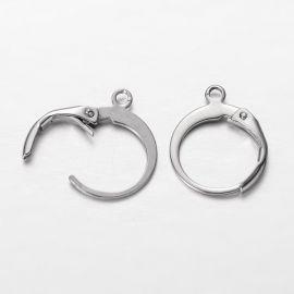 Nerūdijančio plieno kabliukai auskarams, jų gamybai, nikelio spalvos 14x12, 1 pora