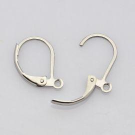 Nerūdijančio plieno kabliukai auskarams, jų gamybai, nikelio spalvos 15x10mm, 1 pora