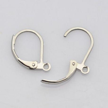 Nerūdijančio plieno kabliukai auskarams, nikelio spalvos 15x10 mm