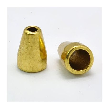 Kepurėlė skirta papuošalų gamybai send. aukso spalvos 11x8 mm, 10 vnt.