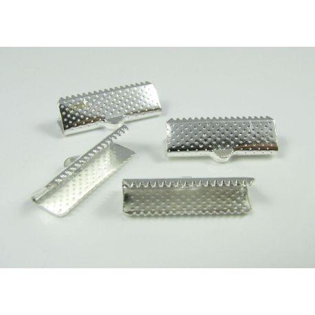 Juostelių užspaudėjas, sidabro spalvos, dydis 20x6 mm, 10 vnt