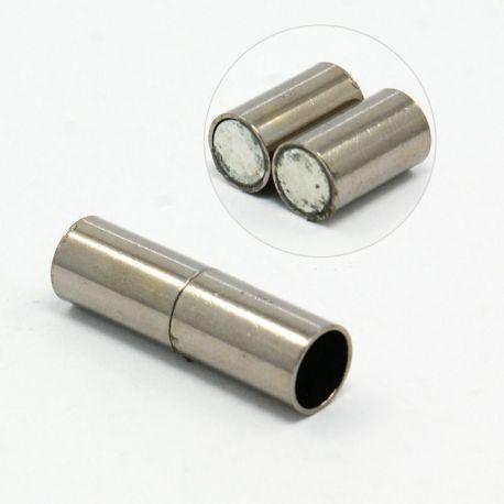 Magnetinis užsegimas skirts vėriniams, apyrankėms, papuošalams, nikelio spalvos, 25x7 mm, 1 vnt.