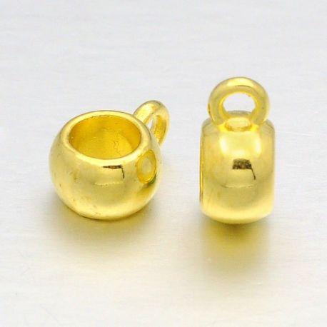 Laikiklis skirtas pakabukams, storoms virvutėms, aukso spalvos, dydis apie 8x5 mm 1 vnt.