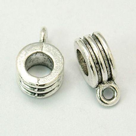 Laikiklis skirtas pakabukams, storoms virvutėms, sendintos sidabro spalvos, dydis apie 8x6 mm 1 vnt.