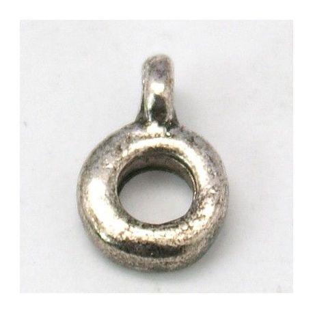 Laikiklis skirtas pakabukams, storoms virvutėms, sendintos sidabro spalvos, dydis apie 7 mm 1 vnt.