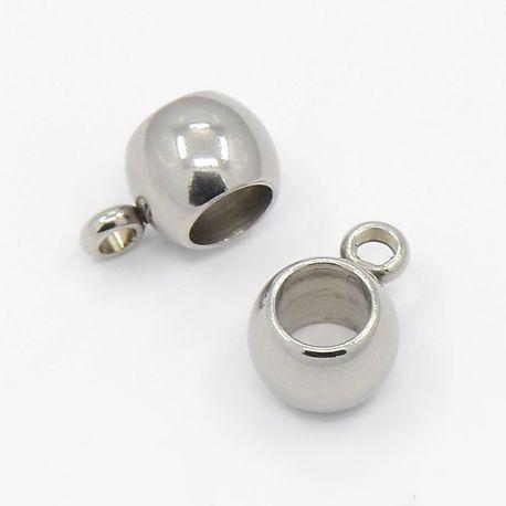 Laikiklis skirtas pakabukams, storoms virvutėms, nikelio sidabro spalvos, dydis apie 6x5 mm 1 vnt.