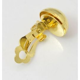 Auskarų ruošiniai – klipsai, aukso spalvos, 19x12 mm, 1 pora