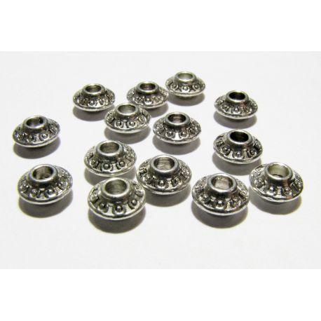 Intarpas skirtas papuošalų gamybai, sidabro spalvos, rondelės formos, dydis 7x4 mm, 1 vnt