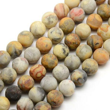 Agato karoliukų gija, baltos, gelsvos, pilkos, rausvos spalvų, matiniai apvalios formos 10 mm, gijoje 38 vnt