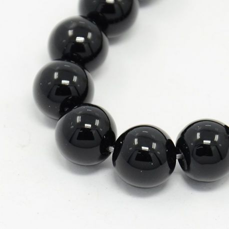 Agato karoliukų gija, blizgūs, juodos spalvos, apvalios formos 6 mm, gijoje 63 vnt