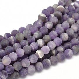 Ametisto karoliukų gija, violetinės spalvos, matiniai, apvalios formos 8 mm gijoje 49 vnt.