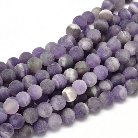 Matiniai ametisto karoliukų gija, violetinės spalvos 6 mm