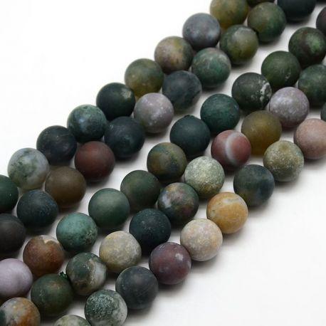 Indijos agato karoliukų gija, matinės juodos spalvos, apvalios formos 10 mm, gijoje 38 vnt