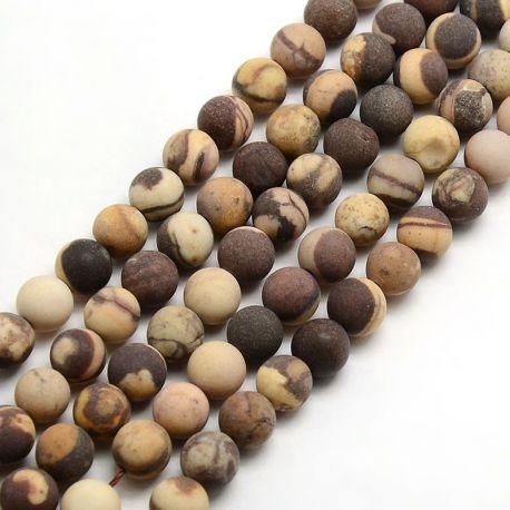 Matiniai zebrinio Jaspio karoliukų gija, rudos-gelsvos spalvos, dydis 8 mm, gijoje apie 47 vnt.
