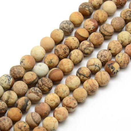 Matiniai paveikslinio Jaspio karoliukų gija, rudos-gelsvos spalvos, dydis 8 mm, gijoje apie 47 vnt.