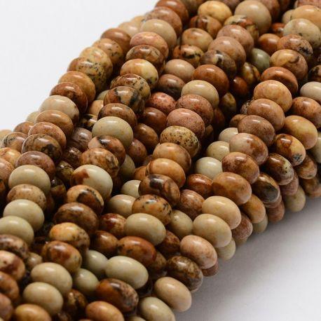 Matiniai paveikslinio Jaspio karoliukų gija, rondelės formos, rudos-gelsvos spalvos, dydis 8 mm, gijoje apie 47 vnt.