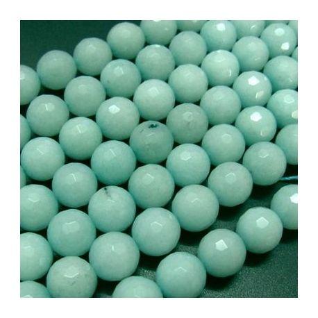 Amazonito karoliukų gija, žalsvos spalvos, briaunuoti, apvalios formos 10 mm gijoje 38 vnt.